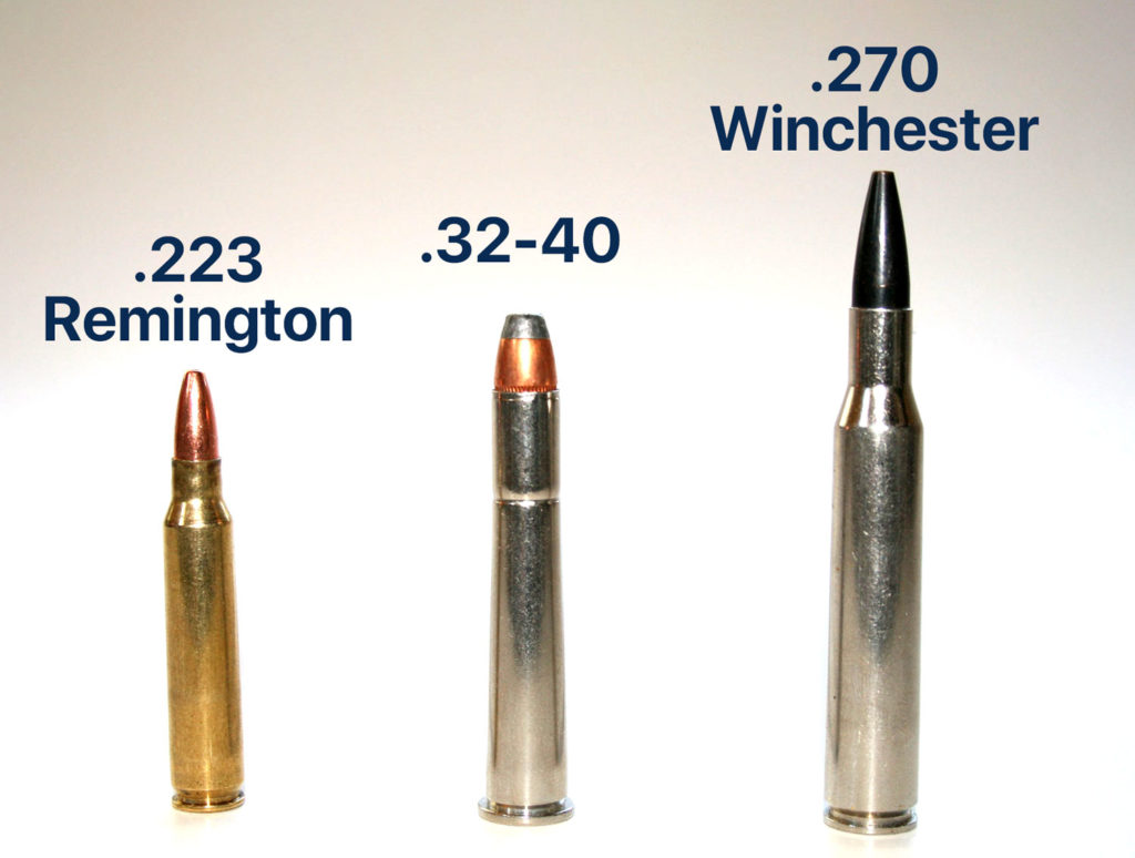 .32-40 cartridge (center) next to a .223 Remington (left) and a .270 Winchester (right)