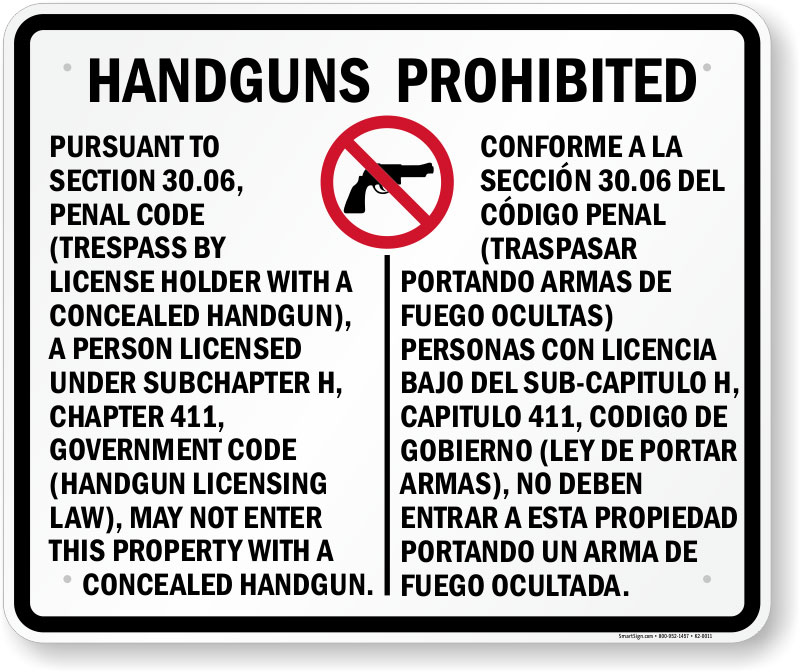 30.06 sign prohibiting concealed carry of handguns in a business in Texas