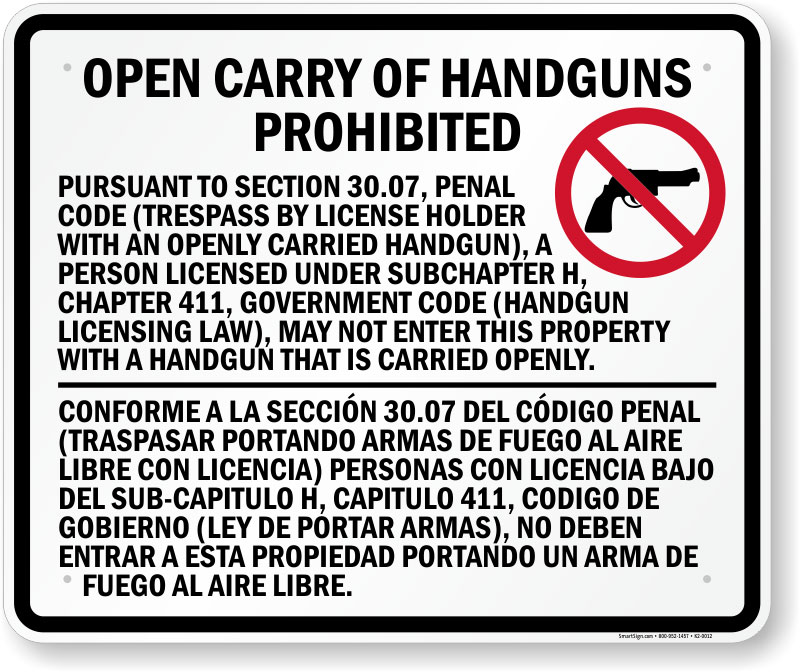 30.07 sign prohibiting open carry of handguns in a business in Texas