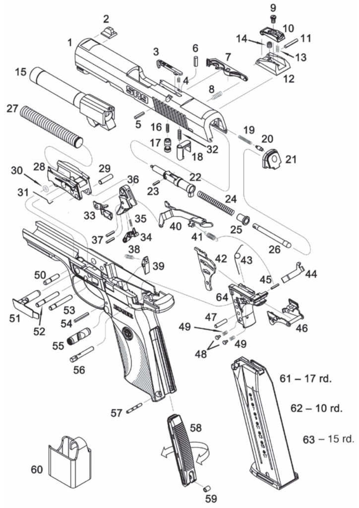 Parts chart of the Ruger SR9 – exploded view